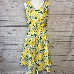 Robbie Bee Dress Floral Print Yellow Size 12P